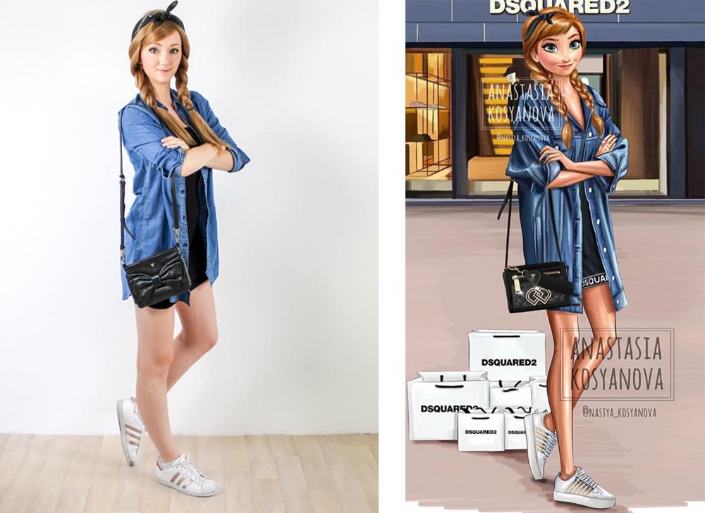 Anna, Rapunzel, real life version of Anastasia Kosyanova's Disney Princess fashion illustration