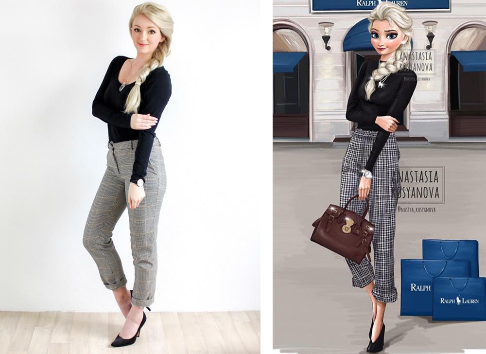 Elsa, Rapunzel, real life version of Anastasia Kosyanova's Disney Princess fashion illustration