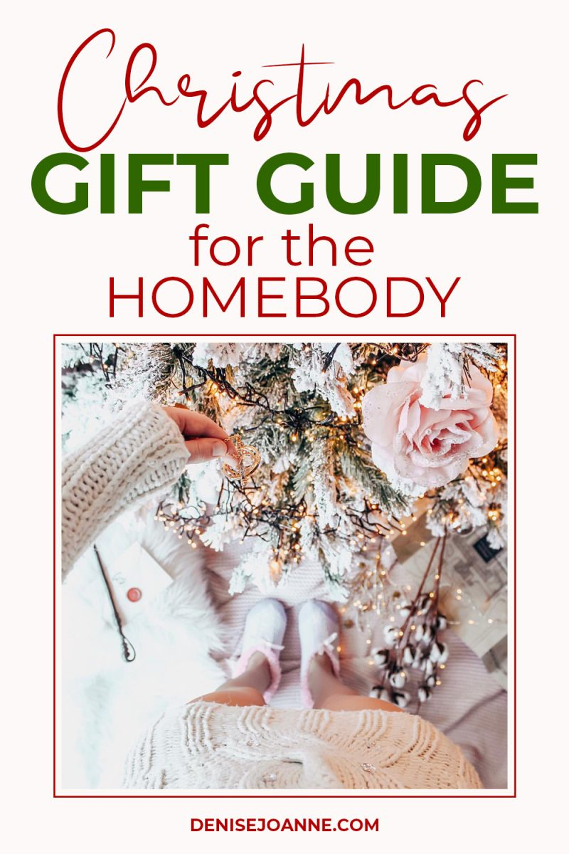 "Picture of a Christmas tree with the writing ""Christmas gift guide for the homebody"""