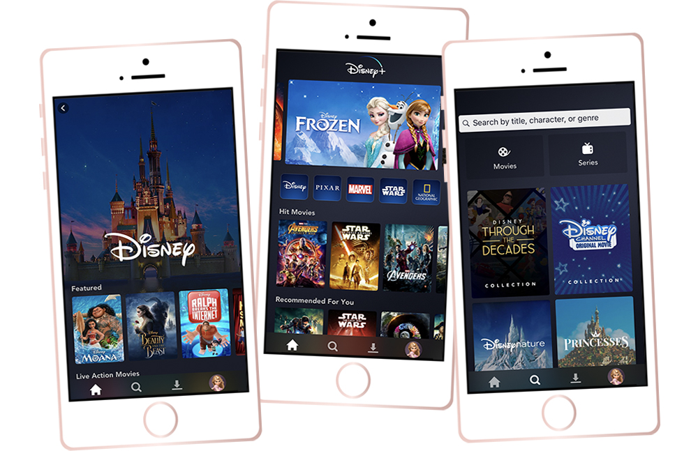 Disney+ is accessible on mobile app as well. Shown on an iPhone.
