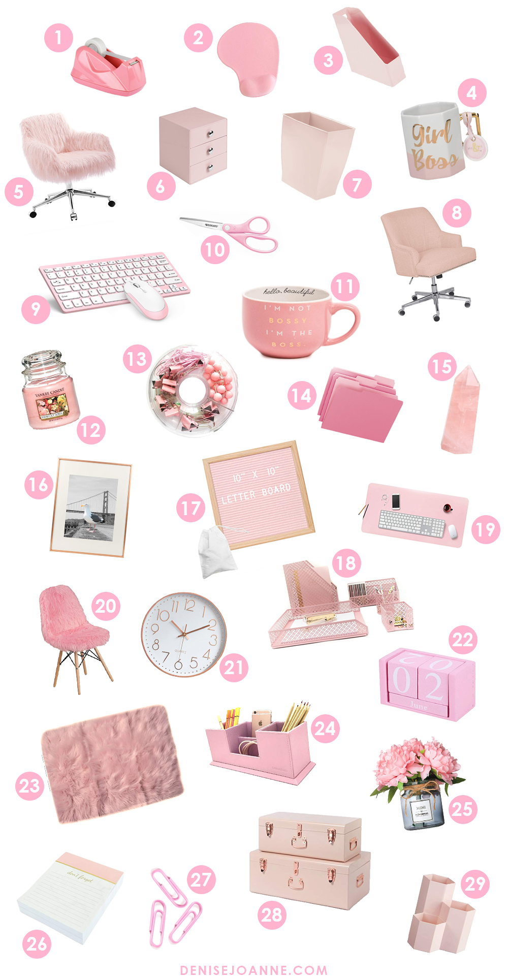 29 Cute pink items for a girl boss office